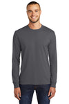 Port & Company PC55LS Mens Core Long Sleeve Crewneck T-Shirt Charcoal Grey Front