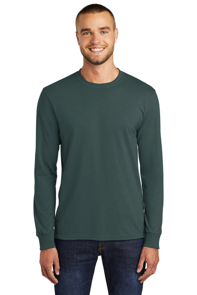 Port & Company PC55LS Mens Core Long Sleeve Crewneck T-Shirt Dark Green Front
