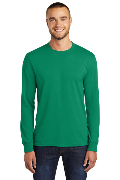 Port & Company PC55LS Mens Core Long Sleeve Crewneck T-Shirt Kelly Green Front