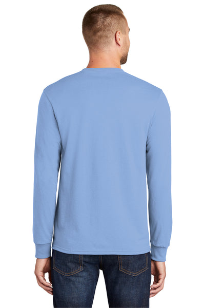 Port & Company PC55LS Mens Core Long Sleeve Crewneck T-Shirt Light Blue Back