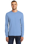 Port & Company PC55LS Mens Core Long Sleeve Crewneck T-Shirt Light Blue Front