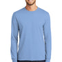 Port & Company Mens Core Long Sleeve Crewneck T-Shirt - Light Blue