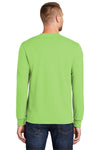 Port & Company PC55LS Mens Core Long Sleeve Crewneck T-Shirt Lime Green Back