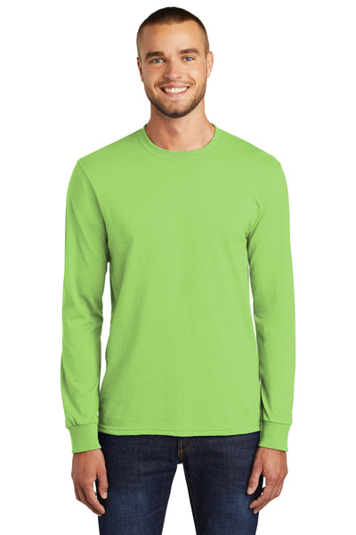 Port & Company PC55LS Mens Core Long Sleeve Crewneck T-Shirt Lime Green Front