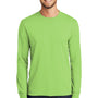 Port & Company Mens Core Long Sleeve Crewneck T-Shirt - Lime Green