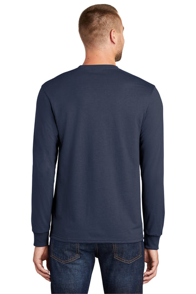 Port & Company PC55LS Mens Core Long Sleeve Crewneck T-Shirt Navy Blue Back