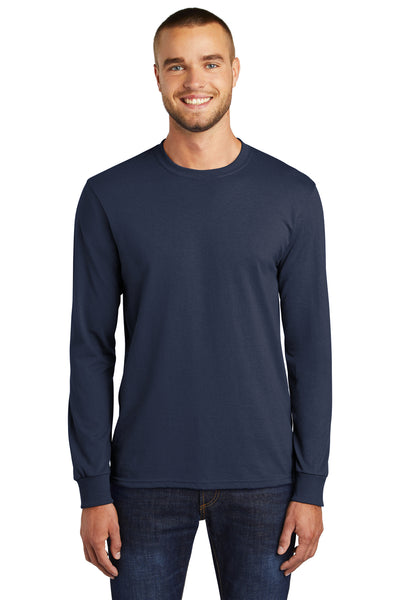Port & Company PC55LS Mens Core Long Sleeve Crewneck T-Shirt Navy Blue Front