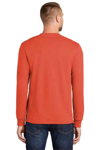 Port & Company PC55LS Mens Core Long Sleeve Crewneck T-Shirt Orange Back