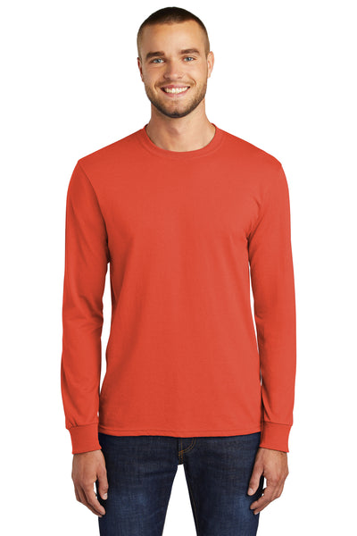 Port & Company PC55LS Mens Core Long Sleeve Crewneck T-Shirt Orange Front