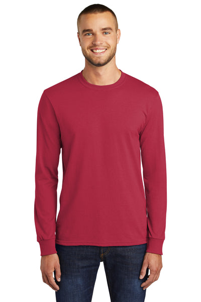 Port & Company PC55LS Mens Core Long Sleeve Crewneck T-Shirt Red Front