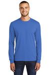 Port & Company PC55LS Mens Core Long Sleeve Crewneck T-Shirt Royal Blue Front