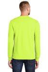Port & Company PC55LS Mens Core Long Sleeve Crewneck T-Shirt Safety Green Back