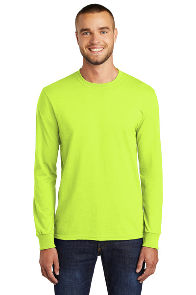 Port & Company PC55LS Mens Core Long Sleeve Crewneck T-Shirt Safety Green Front