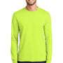 Port & Company Mens Core Long Sleeve Crewneck T-Shirt - Safety Green