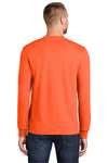 Port & Company PC55LS Mens Core Long Sleeve Crewneck T-Shirt Safety Orange Back