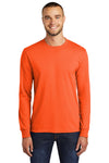 Port & Company PC55LS Mens Core Long Sleeve Crewneck T-Shirt Safety Orange Front