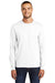 Port & Company PC55LS Mens Core Long Sleeve Crewneck T-Shirt White Front