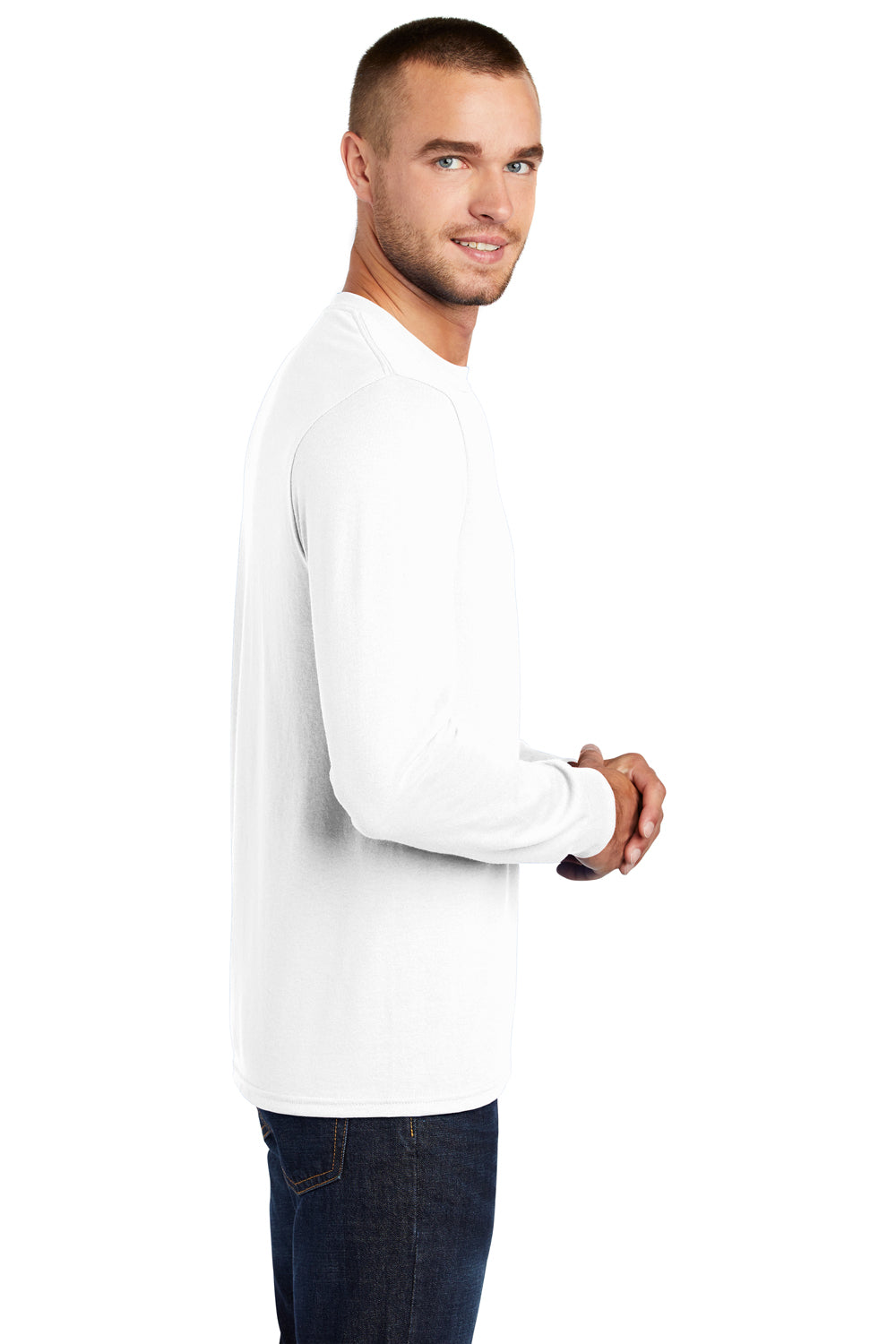 Port & Company PC55LS Mens Core Long Sleeve Crewneck T-Shirt White Side