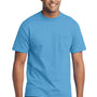 Port & Company Mens Core Short Sleeve Crewneck T-Shirt w/ Pocket - Aquatic Blue