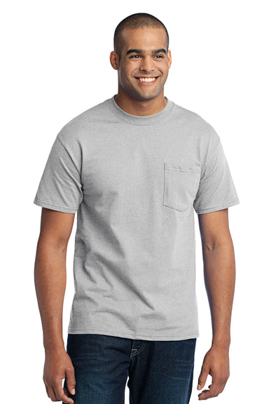 Port & Company PC55P Mens Core Short Sleeve Crewneck T-Shirt w/ Pocket Ash Grey Front