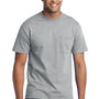 Port & Company Mens Core Short Sleeve Crewneck T-Shirt w/ Pocket - Heather Grey