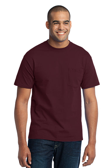 Port & Company PC55P Mens Core Short Sleeve Crewneck T-Shirt w/ Pocket Maroon Front