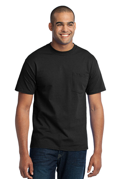Port & Company PC55P Mens Core Short Sleeve Crewneck T-Shirt w/ Pocket Black Front
