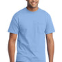 Port & Company Mens Core Short Sleeve Crewneck T-Shirt w/ Pocket - Light Blue