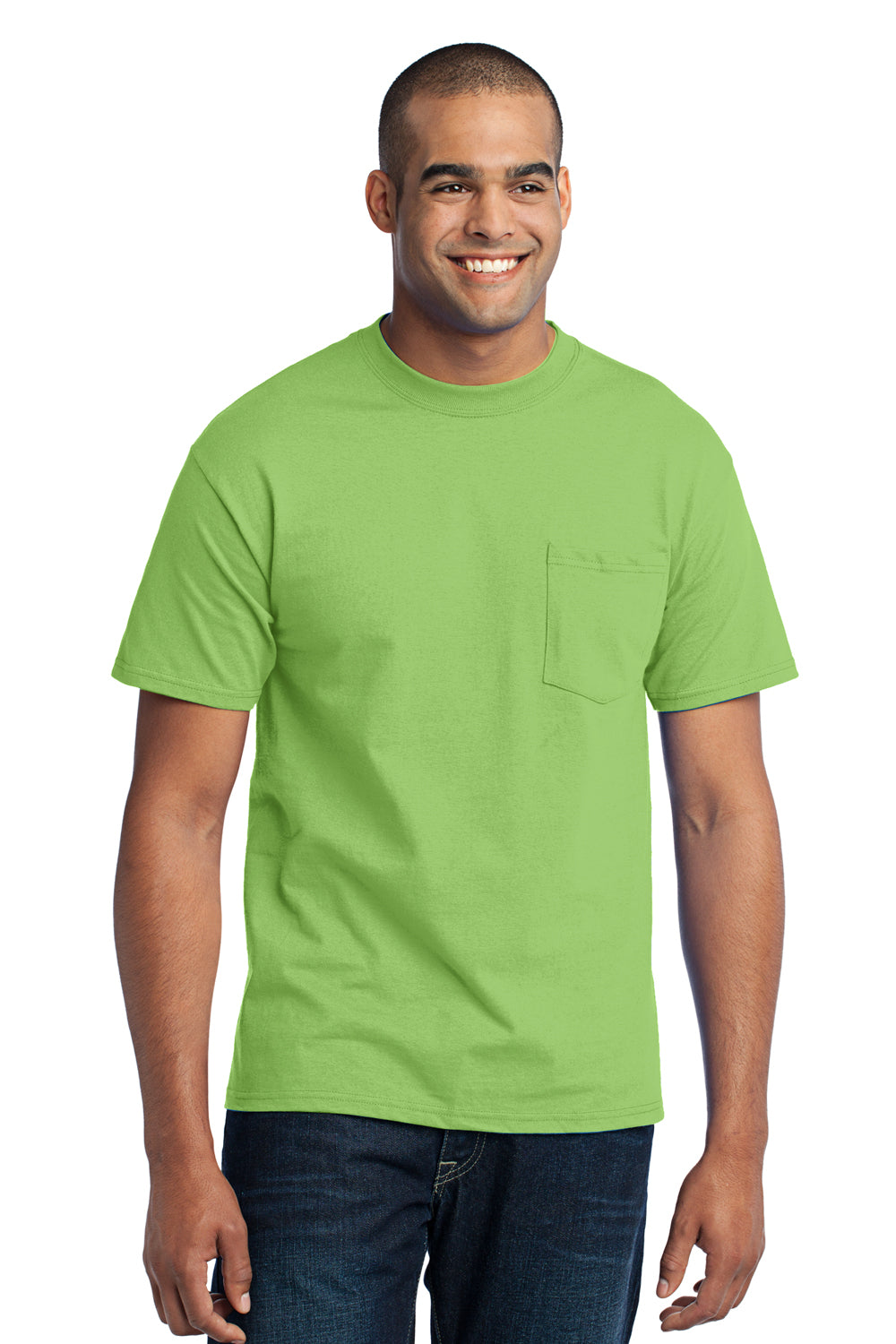 Port & Company PC55P Mens Core Short Sleeve Crewneck T-Shirt w/ Pocket Lime Green Front