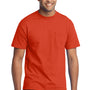 Port & Company Mens Core Short Sleeve Crewneck T-Shirt w/ Pocket - Orange
