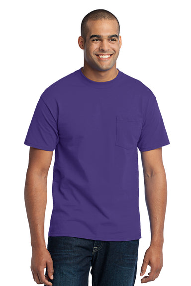 Port & Company PC55P Mens Core Short Sleeve Crewneck T-Shirt w/ Pocket Purple Front