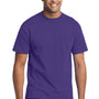 Port & Company Mens Core Short Sleeve Crewneck T-Shirt w/ Pocket - Purple