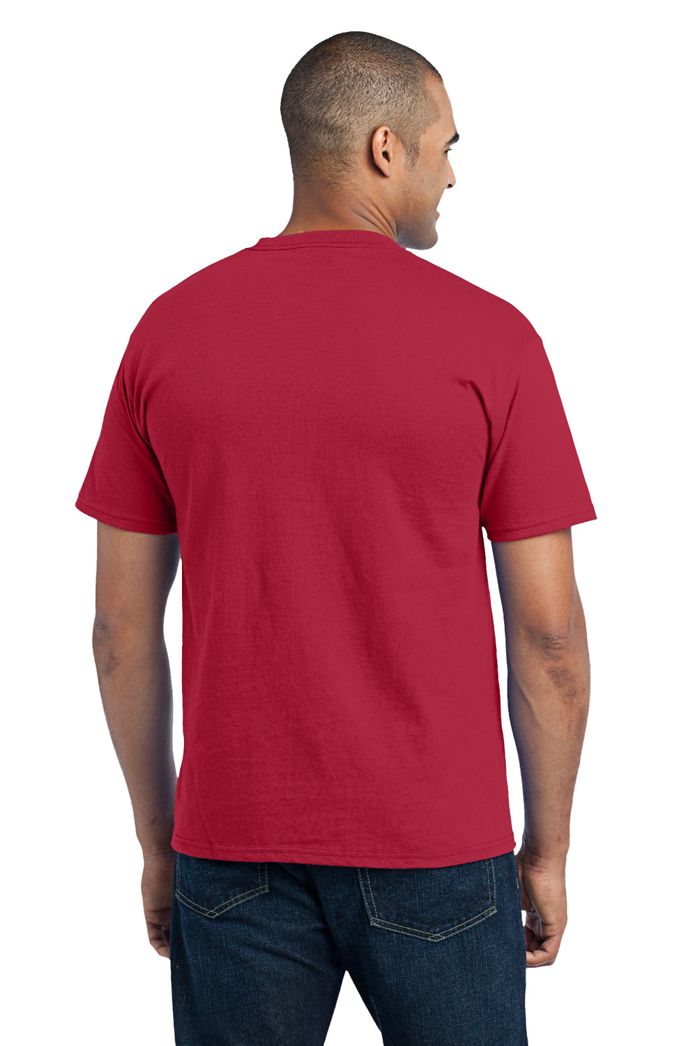 Port & Company PC55P Mens Core Short Sleeve Crewneck T-Shirt w/ Pocket Red Back