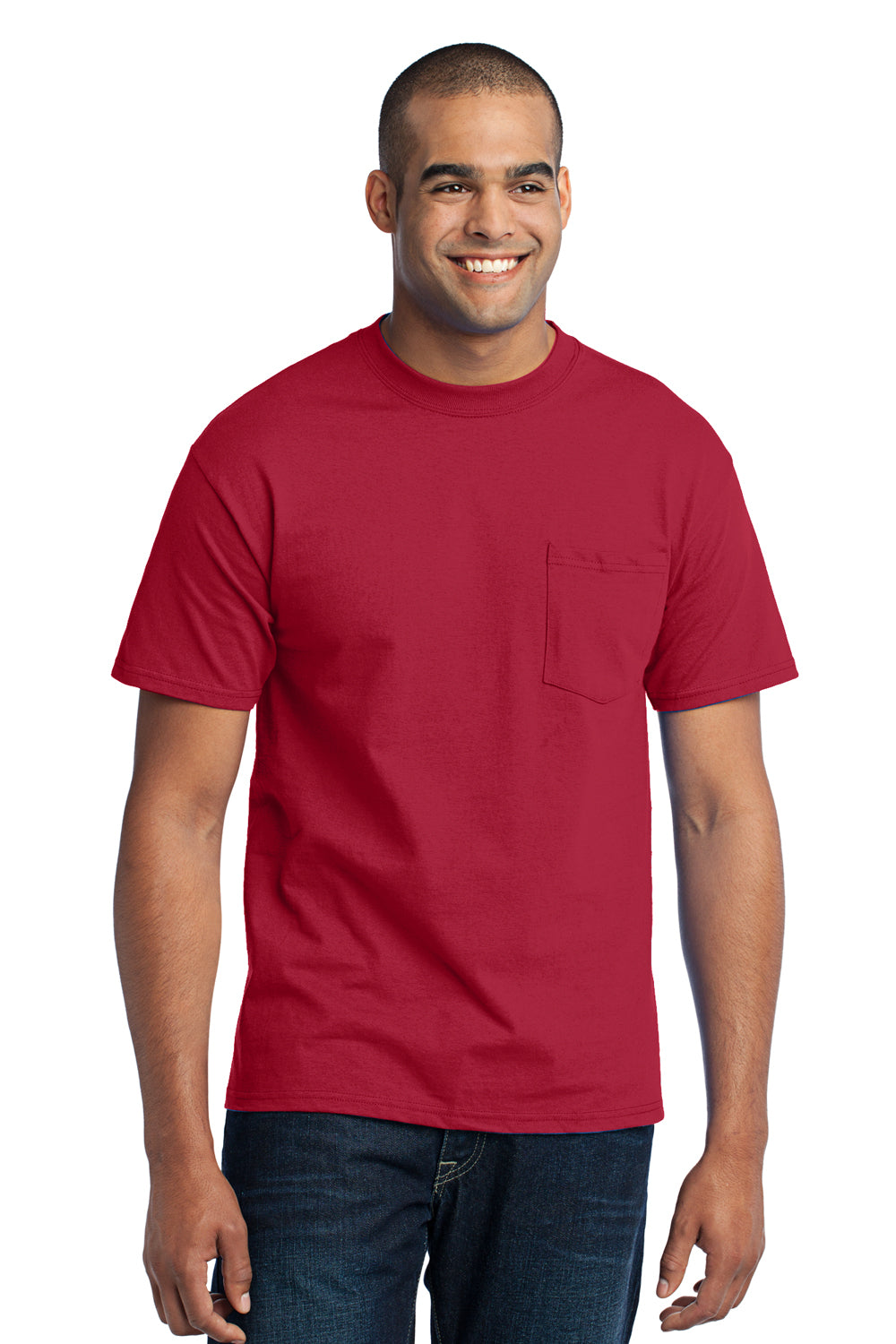 Port & Company PC55P Mens Core Short Sleeve Crewneck T-Shirt w/ Pocket Red Front