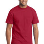 Port & Company Mens Core Short Sleeve Crewneck T-Shirt w/ Pocket - Red