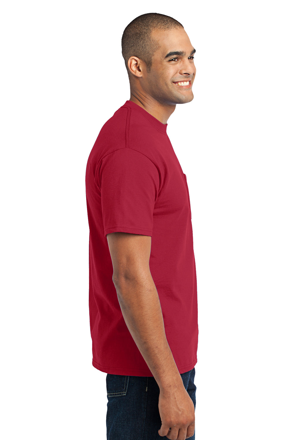Port & Company PC55P Mens Core Short Sleeve Crewneck T-Shirt w/ Pocket Red Side