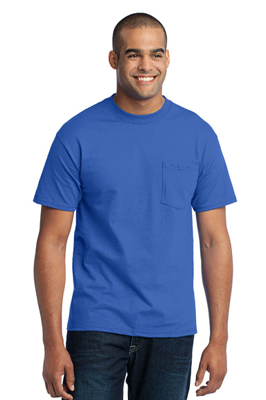 Port & Company PC55P Mens Core Short Sleeve Crewneck T-Shirt w/ Pocket Royal Blue Front