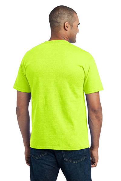 Port & Company PC55P Mens Core Short Sleeve Crewneck T-Shirt w/ Pocket Safety Green Back