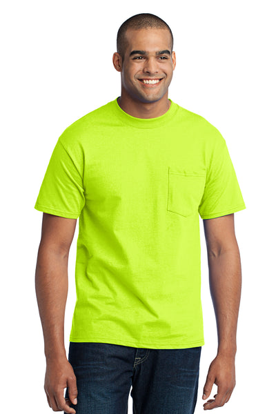 Port & Company PC55P Mens Core Short Sleeve Crewneck T-Shirt w/ Pocket Safety Green Front