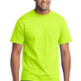 Port & Company Mens Core Short Sleeve Crewneck T-Shirt w/ Pocket - Safety Green