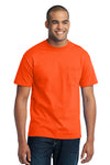 Port & Company PC55P Mens Core Short Sleeve Crewneck T-Shirt w/ Pocket Safety Orange Front