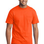 Port & Company Mens Core Short Sleeve Crewneck T-Shirt w/ Pocket - Safety Orange