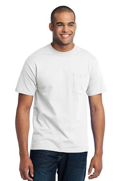 Port & Company PC55P Mens Core Short Sleeve Crewneck T-Shirt w/ Pocket White Front
