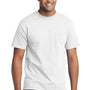 Port & Company Mens Core Short Sleeve Crewneck T-Shirt w/ Pocket - White