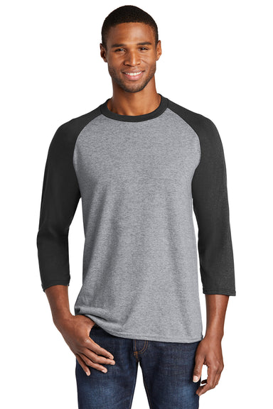 Port & Company PC55RS Mens Core Moisture Wicking 3/4 Sleeve Crewneck T-Shirt Heather Grey/Black Front
