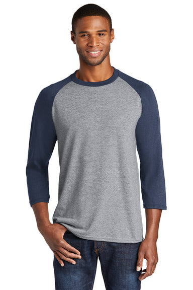 Port & Company PC55RS Mens Core Moisture Wicking 3/4 Sleeve Crewneck T-Shirt Heather Grey/Navy Blue Front