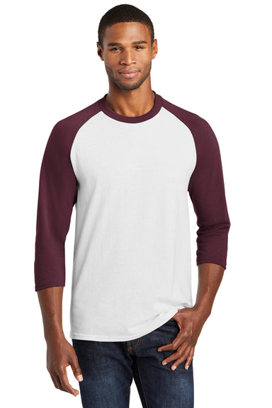 Port & Company PC55RS Mens Core Moisture Wicking 3/4 Sleeve Crewneck T-Shirt White/Maroon Front