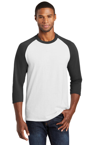 Port & Company PC55RS Mens Core Moisture Wicking 3/4 Sleeve Crewneck T-Shirt White/Black Front