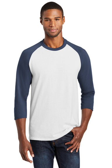 Port & Company PC55RS Mens Core Moisture Wicking 3/4 Sleeve Crewneck T-Shirt White/Navy Blue Front