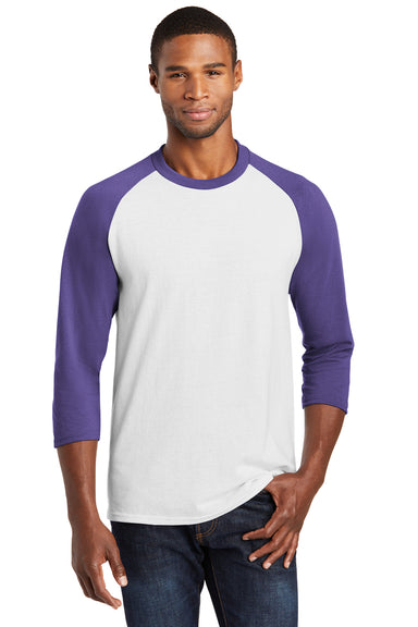Port & Company PC55RS Mens Core Moisture Wicking 3/4 Sleeve Crewneck T-Shirt White/Purple Front